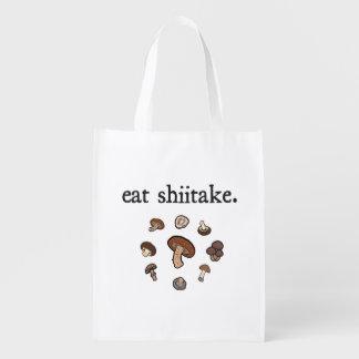 eat shiitake. (mushrooms) reusable grocery bag