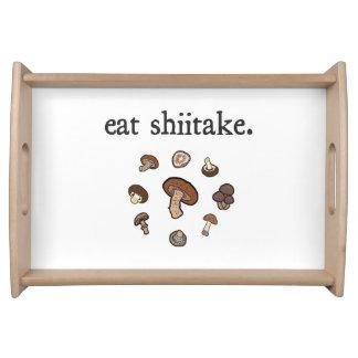 eat shiitake. (mushrooms) service trays