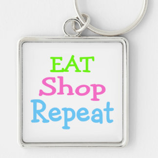 Eat Shop Repeat 2 Silver-Colored Square Key Ring
