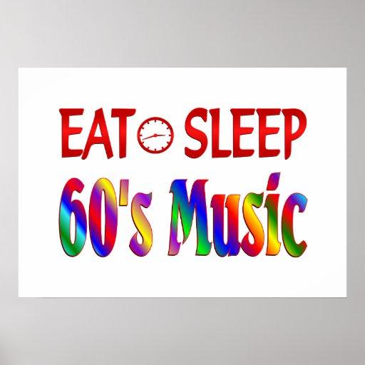 Eat Sleep 60's Music Print