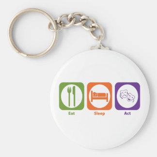 Eat Sleep Act Basic Round Button Key Ring