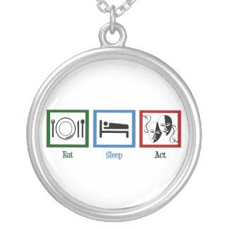 Eat Sleep Act Round Pendant Necklace