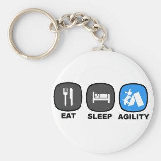 Eat. Sleep. Agility. Blue. Basic Round Button Key Ring