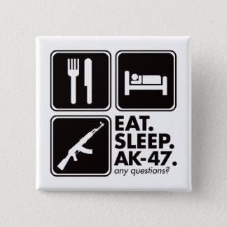 Eat Sleep AK-47 - Black 15 Cm Square Badge