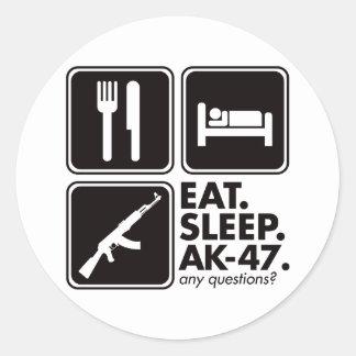 Eat Sleep AK-47 - Black Round Sticker