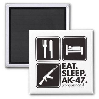 Eat Sleep AK-47 - Black Square Magnet