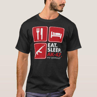 Eat Sleep AK-47 - Red and White T-Shirt
