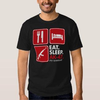 Eat Sleep AK-47 - Red and White Tee Shirts