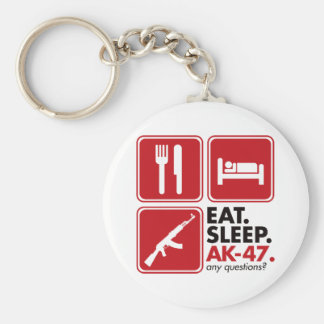 Eat Sleep AK-47 - Red Basic Round Button Key Ring