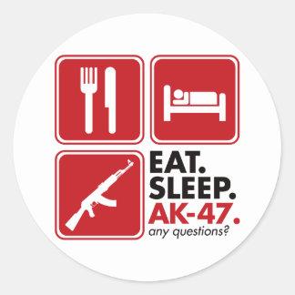Eat Sleep AK-47 - Red Round Sticker