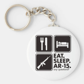 Eat Sleep AR-15 - Black Basic Round Button Key Ring