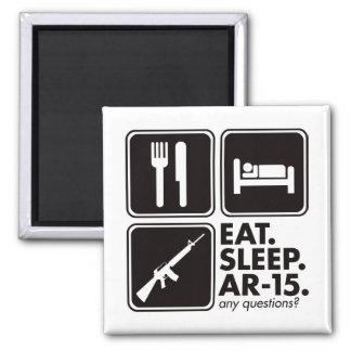 Eat Sleep AR-15 - Black Square Magnet