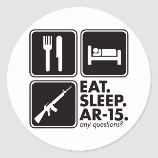 Eat Sleep AR-15 - Black Round Sticker
