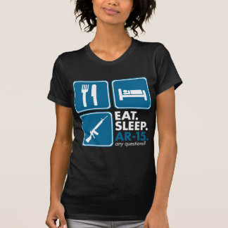 Eat Sleep AR-15 - Blue and White T-Shirt