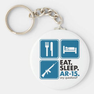 Eat Sleep AR-15 - Blue Basic Round Button Key Ring