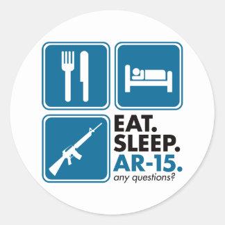 Eat Sleep AR-15 - Blue Round Sticker