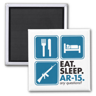 Eat Sleep AR-15 - Blue Square Magnet