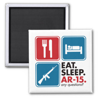 Eat Sleep AR-15 - Red and Blue Magnet