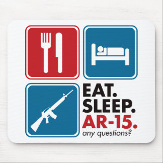 Eat Sleep AR-15 - Red and Blue Mouse Mats