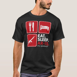 Eat Sleep AR-15 - Red and White T-Shirt