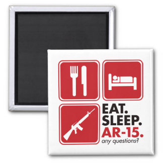 Eat Sleep AR-15 - Red Square Magnet