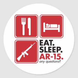 Eat Sleep AR-15 - Red Round Sticker