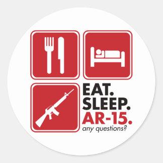 Eat Sleep AR-15 - Red Round Sticker