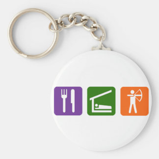Eat Sleep Archery! Basic Round Button Key Ring