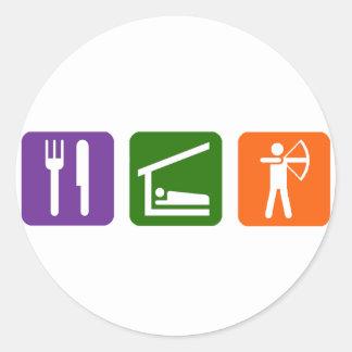 Eat Sleep Archery! Classic Round Sticker