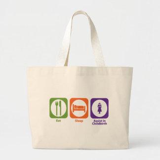 Eat Sleep Assist in Childbirth Large Tote Bag