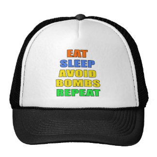 Eat Sleep Avoid Bombs Repeat Trucker Hats