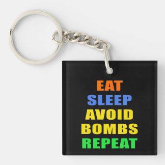 Eat Sleep Avoid Bombs Repeat Single-Sided Square Acrylic Key Ring