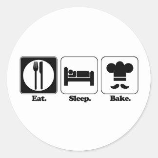 eat sleep bake round sticker