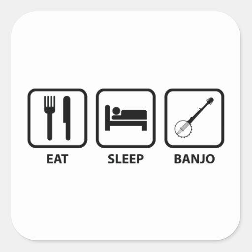 Eat Sleep Banjo Square Stickers