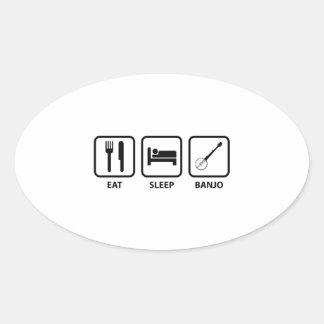 Eat Sleep Banjo Oval Sticker