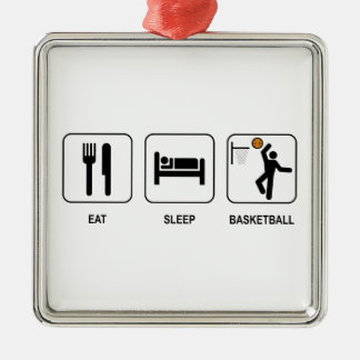 Eat Sleep Basketball Silver-Colored Square Decoration