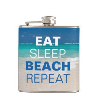 Eat Sleep Beach Repeat Hip Flask