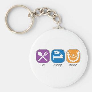 Eat Sleep Bead Basic Round Button Key Ring
