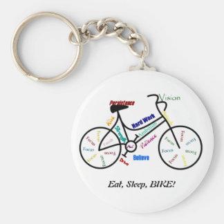 Eat, Sleep, BIKE! Fun Motivational Words for Biker Basic Round Button Key Ring