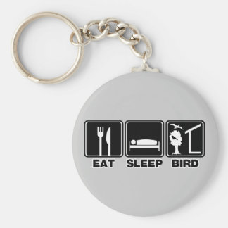 Eat Sleep Bird (blind) Basic Round Button Key Ring