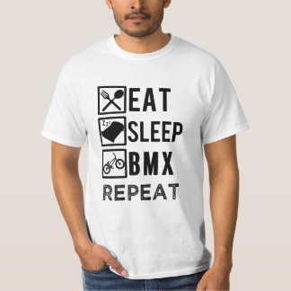 Eat Sleep BMX Repeat funny biking mens shirt