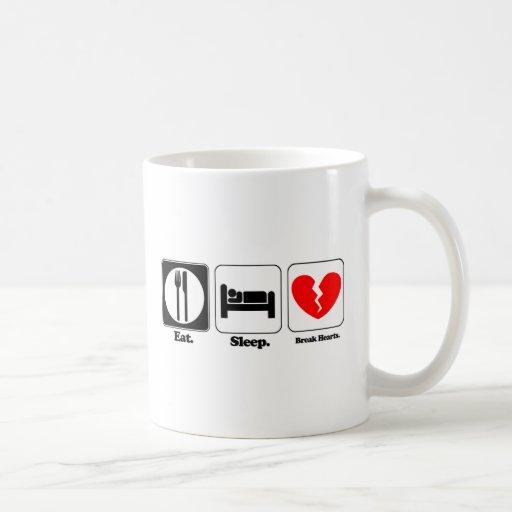 eat sleep break hearts mugs