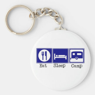 Eat, Sleep, Camp Basic Round Button Key Ring