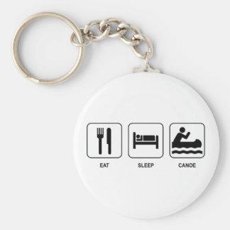 Eat Sleep Canoe Basic Round Button Key Ring