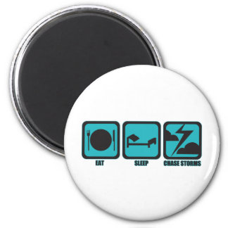 Eat Sleep Chase Storms 6 Cm Round Magnet