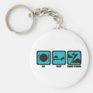 Eat Sleep Chase Storms Basic Round Button Key Ring