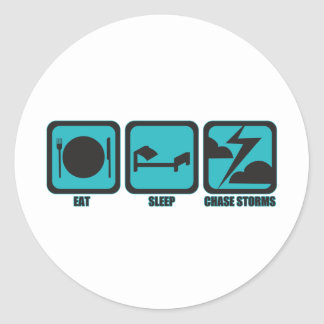 Eat Sleep Chase Storms Classic Round Sticker