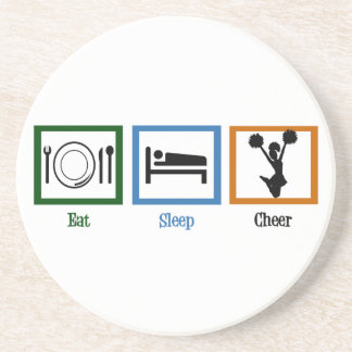 Eat Sleep Cheer Beverage Coasters