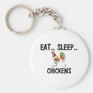 Eat Sleep CHICKENS Basic Round Button Key Ring