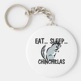 Eat Sleep CHINCHILLAS Basic Round Button Key Ring